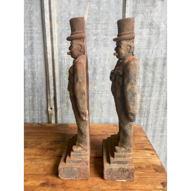 Antique Winston Churchill Cast Iron Andirons - A Pair - Image 7 of 10