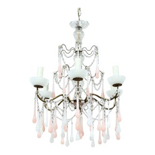 Italian Vintage Pink and White Opaline Beaded Chandelier For Sale
