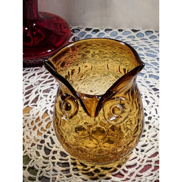 Blown Amber Glass Owl Shaped Candle Holder Vase For Sale - Image 6 of 13