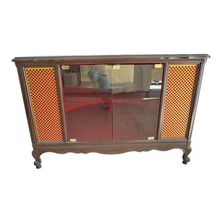 1960s Mid Century Modern Red and Wood Bar Cabinet With Gold Accents For Sale