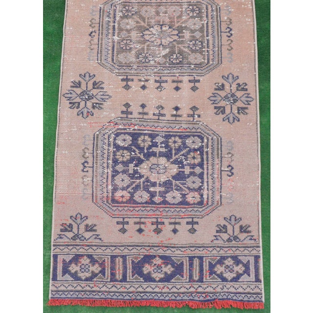 """Blue Distressed - Faded Oushak Rug Runner Stunning Kitchen Decor - 2'11"""" x 11'7"""" For Sale - Image 8 of 10"""