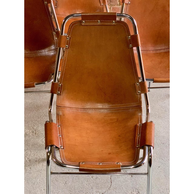 1960s Les Arcs Dining Chairs Leather, 1960s - Set of 6 For Sale - Image 5 of 13