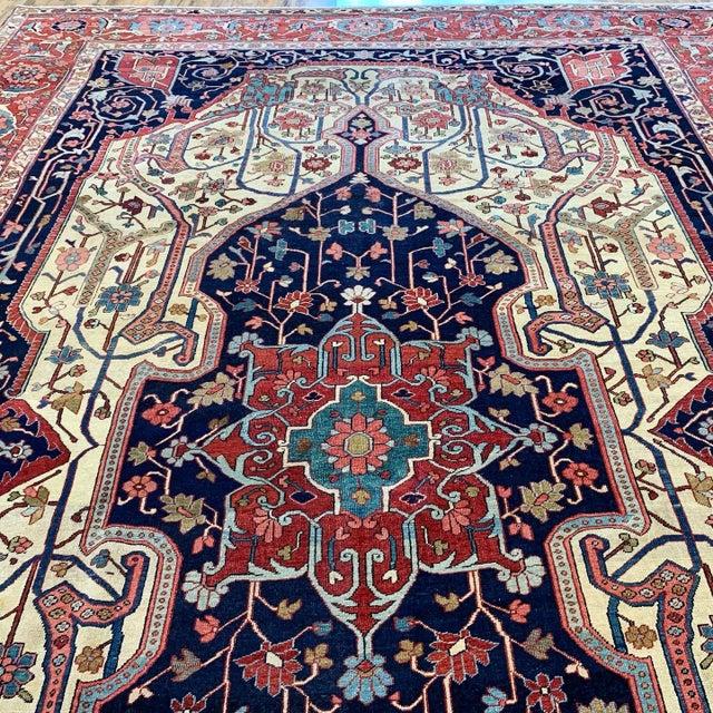 Ivory Antique Persian Serapi Heriz Rug- 10′8″ × 16′ For Sale - Image 8 of 11
