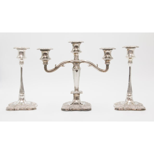 Metal Antique English Silver Plate Candelabra & Candlesticks - Set of 3 For Sale - Image 7 of 7