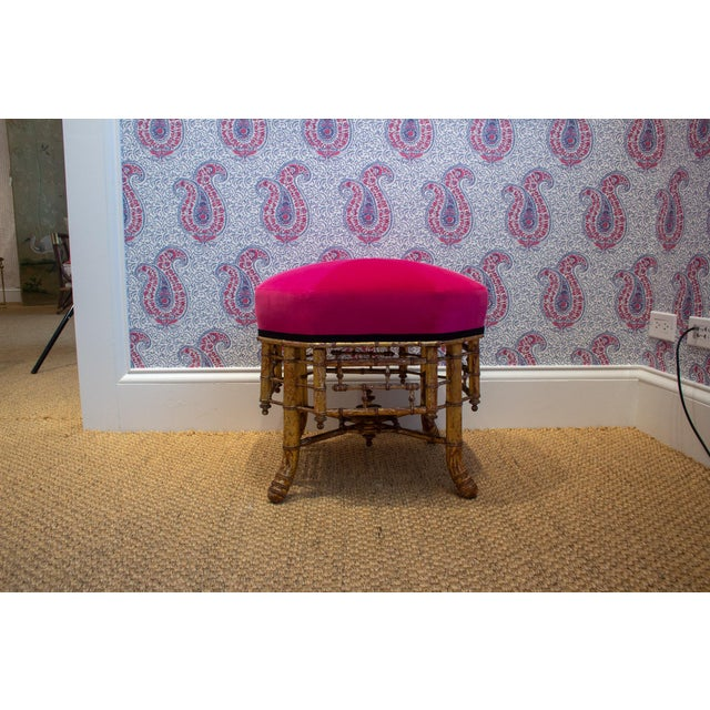 French Late 19th Century Napoleon III Gilt Wood Stool For Sale - Image 3 of 5