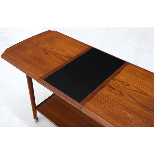 Black Danish Mid-Century Modern Teak Expandable Cart With One Leaf For Sale - Image 8 of 13