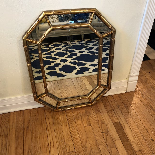 Gold Faux Bamboo Octagon Mirror For Sale - Image 8 of 8