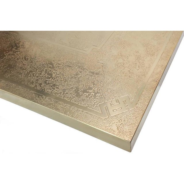 Gold George Mathias Brass Etched Coffee Table For Sale - Image 8 of 10