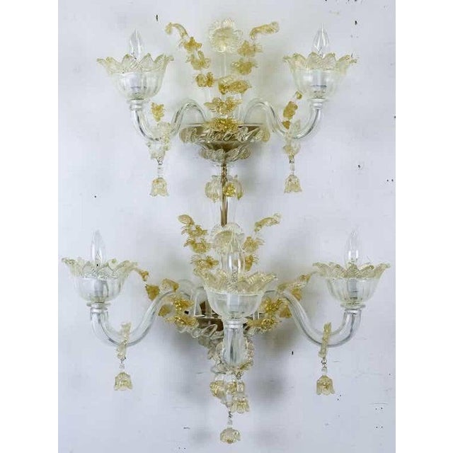 Italian Spectacular Venetian Italian Gold Infused Murano Glass Sconces For Sale - Image 3 of 6