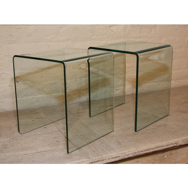 1980s Vintage French Glass Side Tables, a Pair For Sale - Image 5 of 5