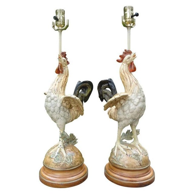 Antique French Cast Iron Rooster Lamps-A Pair For Sale - Image 11 of 12