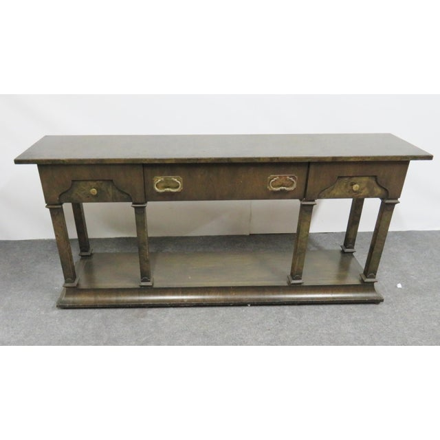 Burlwood Hollywood Regency Burlwood Console Table For Sale - Image 7 of 7