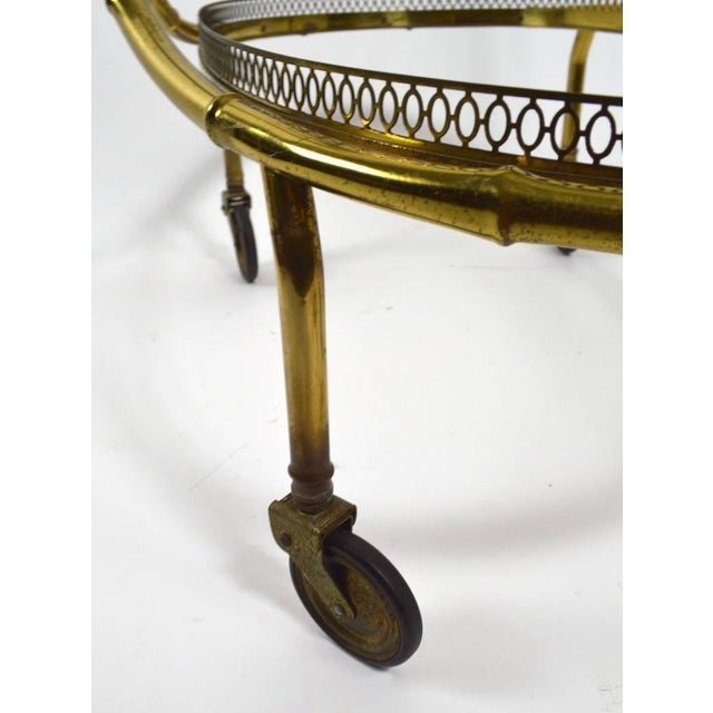Gold Faux Bamboo Serving Cart, Trolley in Brass and Glass For Sale - Image 8 of 11