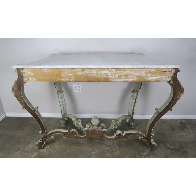 19th Century French Rococo Style Painted Console With Carrara Marble Top For Sale - Image 4 of 13