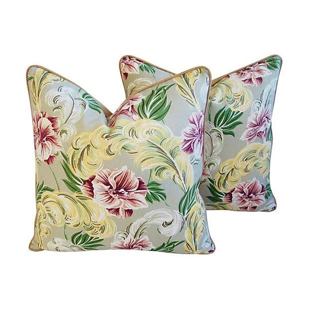 """23"""" Custom Tailored Tropical Floral Barkcloth Feather/Down Pillows - Pair - Image 3 of 7"""