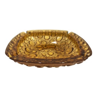 1970's Amber Bubble Pattern Ashtray