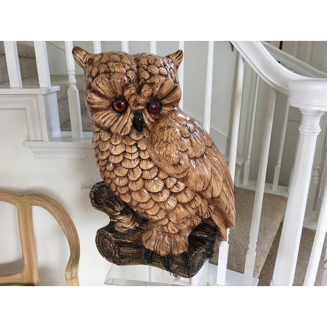 Mid-Century Ceramic Owl Lamp - Image 7 of 10