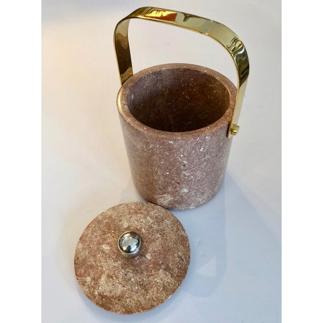 Mid-Century Heavy Solid Marble & Brass Ice Bucket For Sale - Image 4 of 9