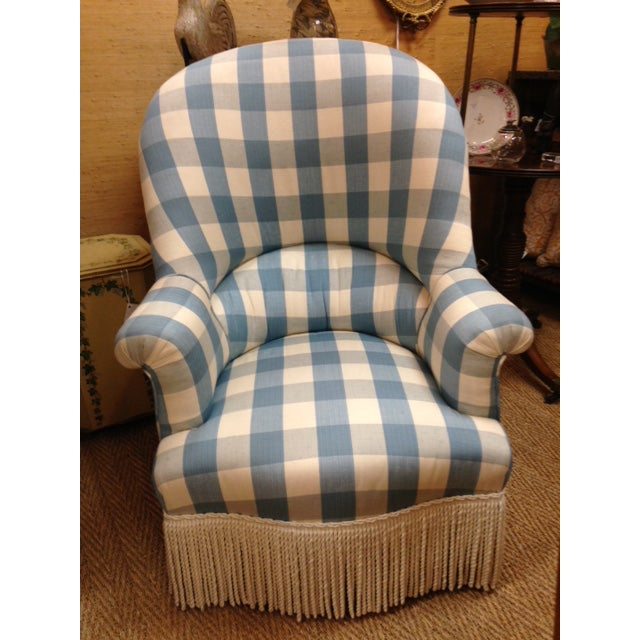 Blue Antique English Colefax & Fowler Fabric Upholstered Nursing Chair For Sale - Image 8 of 8