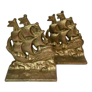 Pair of Vintage Brass Bookends of Sailing Ships For Sale