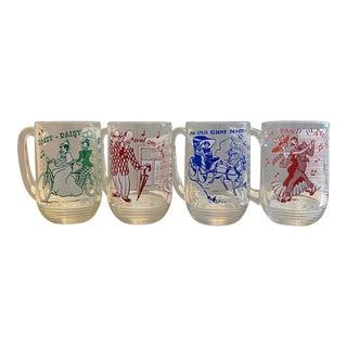 1950s Hazel-Atlas Glass Co. Large Sing-A-Long Mugs- Set of 4 For Sale