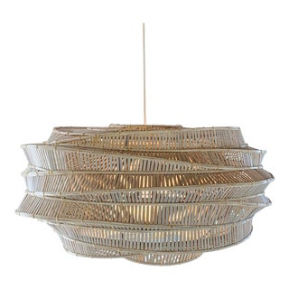 Contemporary Woven Bamboo Whitewash (Low) Cloud Pendent For Sale