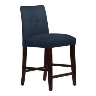 Tufted Linen Navy Tapered Counter Stool