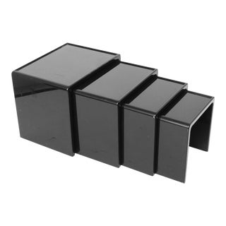 Modern Black Lacquered Nesting Tables - Set of 4 For Sale