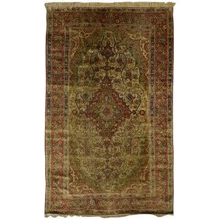 Antique Persian Silk Kashan Mohtashem Rug For Sale