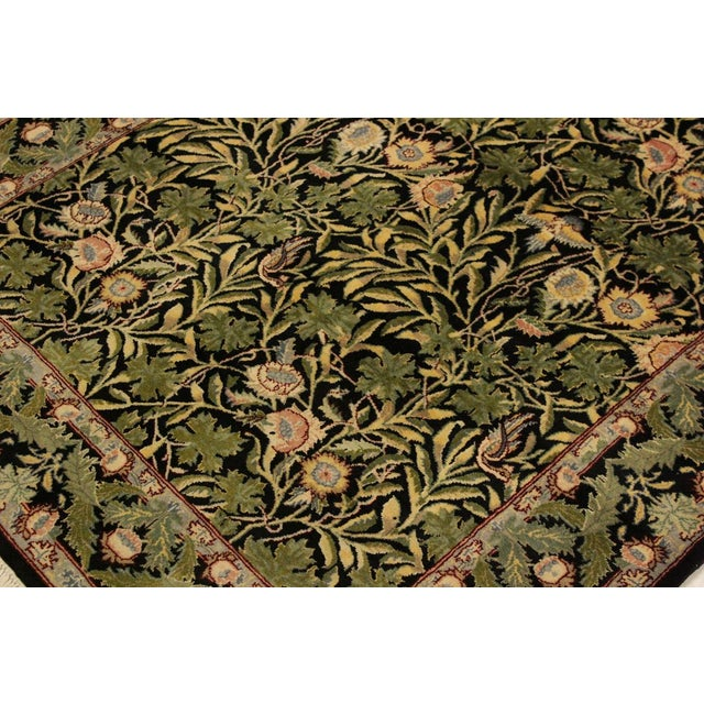 Imran Pak-Persian Danette Black/Green Wool Rug - 4'1 X 6'0 For Sale In New York - Image 6 of 8