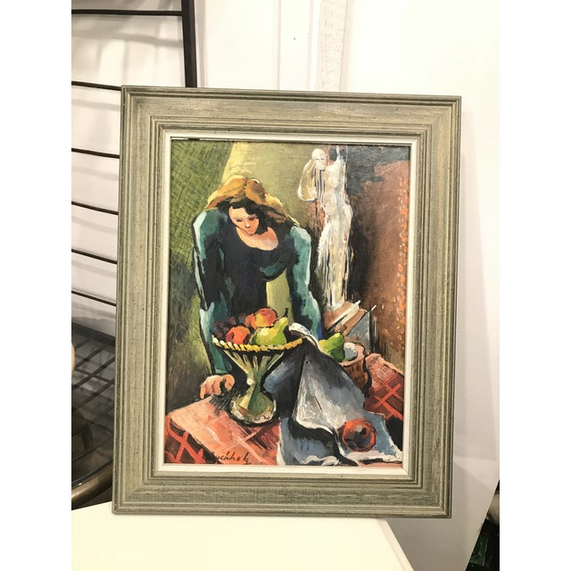 Vintage Mid-Century Buccholz Woman and Ghost Oil Painting For Sale - Image 4 of 5