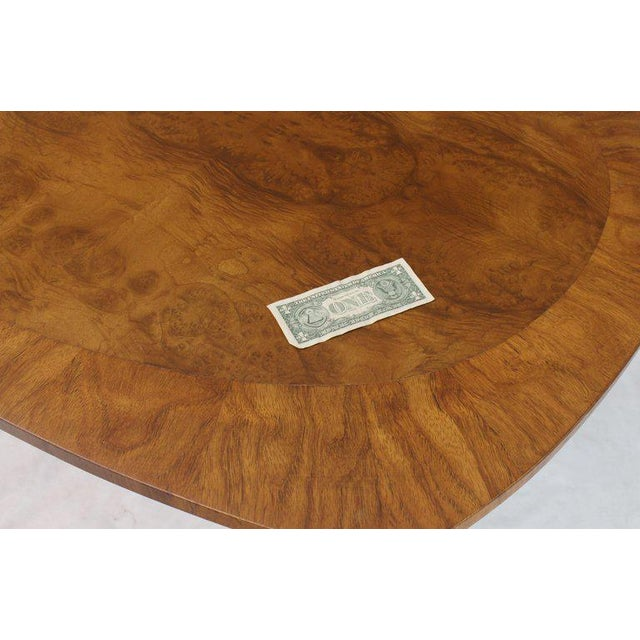 Brown Oval Boat Shape Banded Burl Wood Dining Table With 2 Leaves Extensions For Sale - Image 8 of 12