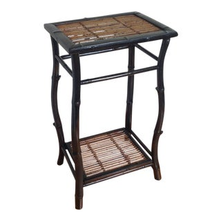 1970s Boho Chic Bamboo Side Table