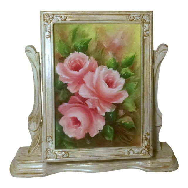 Vintage Swivel Stand With Signed Floral Painting - Image 1 of 5