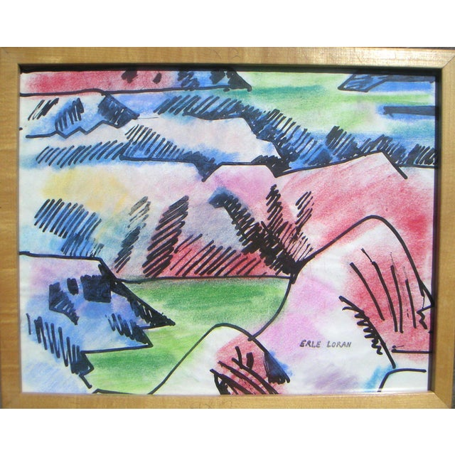 "From the Estate of Erle Loran [ Estate Stamp Signature l.r.], Painted Hills, Oregon , watercolor, 1960s . Size: 14 x 11""..."