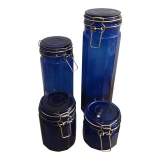 Vintage Cobalt Blue Apothecary Jars - Set of 4