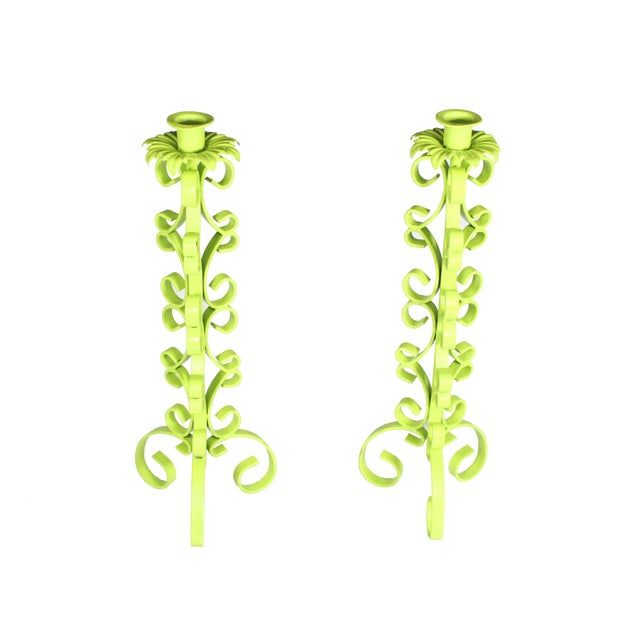 1970s 1970s Chartreuse Wrought Iron Taper Candlestick Holder - a Pair For Sale - Image 5 of 5