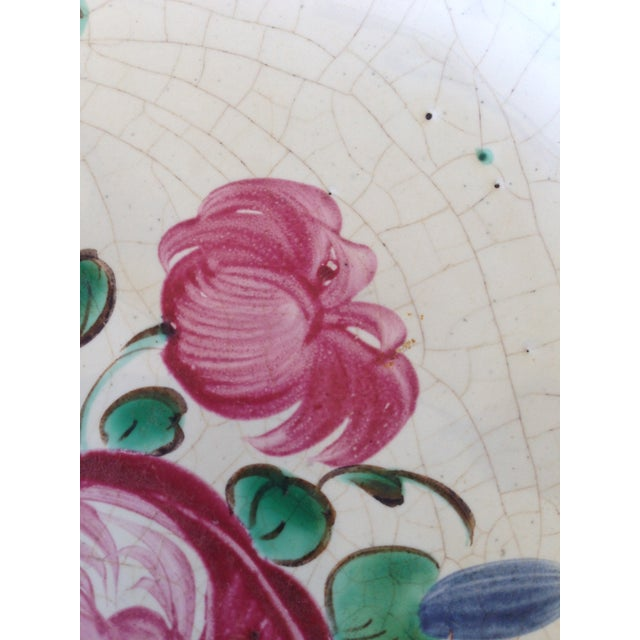 French Hand Painted Flower Faience Wall Plaque - Image 6 of 9