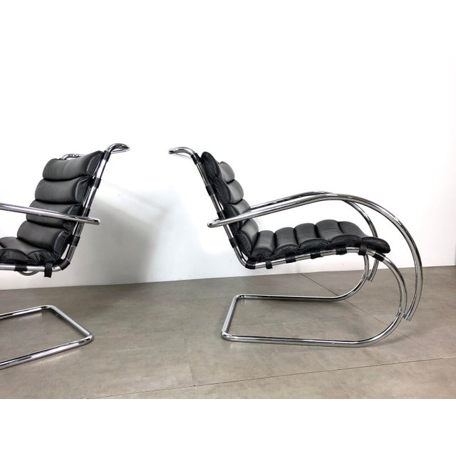 Animal Skin Vintage 1970s Mies Van Der Rohe Style Lounge Chairs - a Pair For Sale - Image 7 of 10