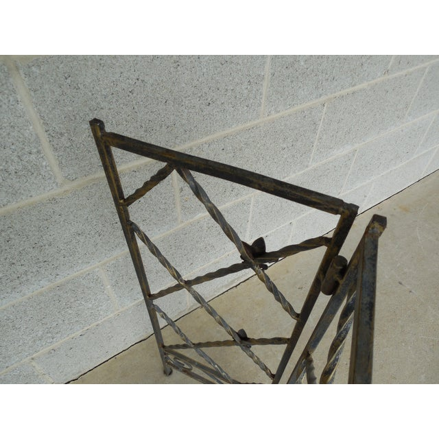 "Designer French Style Heavy Wrought Iron Glass Top Console 35""w X 12""d For Sale - Image 9 of 13"