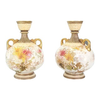 Royal Worcester Porcelain Vases - a Pair For Sale