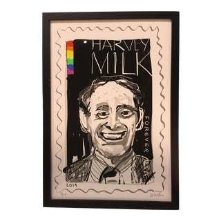 2014 Honorary Harvey Milk Stamp Limited Edition Serigraph Singed and Numbered, Framed For Sale