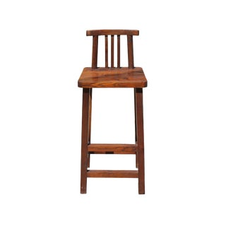 Rough Wood Brown Zen Oriental Bar Stool W Back For Sale