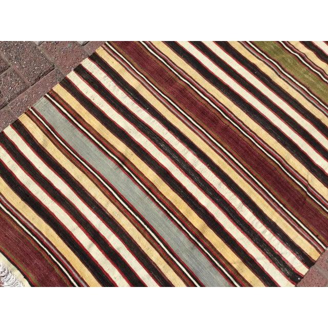 Textile Vintage Striped Turkish Kilim Runner Rug For Sale - Image 7 of 9