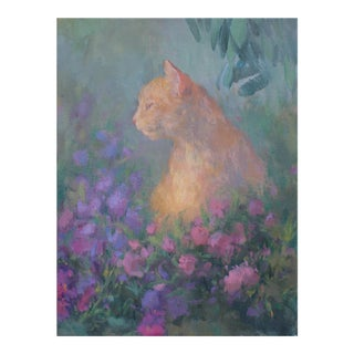 Michelle Farro Orange Cat Giclée Print For Sale