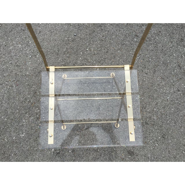 Vintage French Acrylic Folding Chair With Brass Base, C.1970s For Sale - Image 10 of 11
