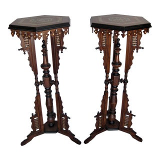 Pair of Vintage Inlay Moroccan Pedestal For Sale