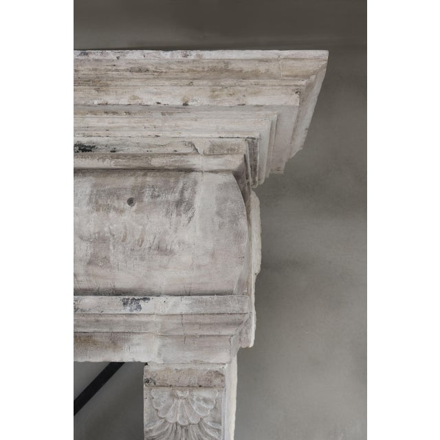 French Antique Castle Fireplace of French Limestone, 18th Century, Louis XIII For Sale - Image 3 of 9