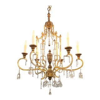 "18th Century Giltwood and Crystal ""Lucca"" Pagoda Form Chandelier For Sale"
