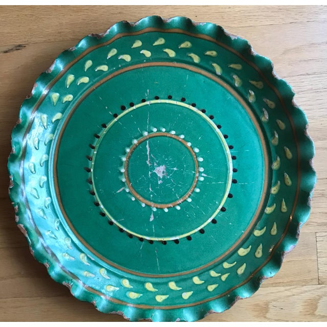 Mid 20th Century Vintage French Provincial DeMarnaz Green Pottery Platter With Black and Ochre Yellow Decorative Design For Sale - Image 5 of 5